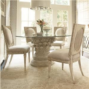 American Drew Jessica McClintock Boutique Round Dining Table Set In White  Veil