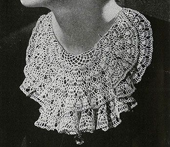Lace Jabot crochet pattern originally published in Paris Sponsors Crochet, Spool Cotton Co #46.