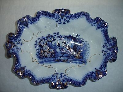 1860's Villeroy & Boch Flow Blue 'INDIA' Serving Bowl | #424314155