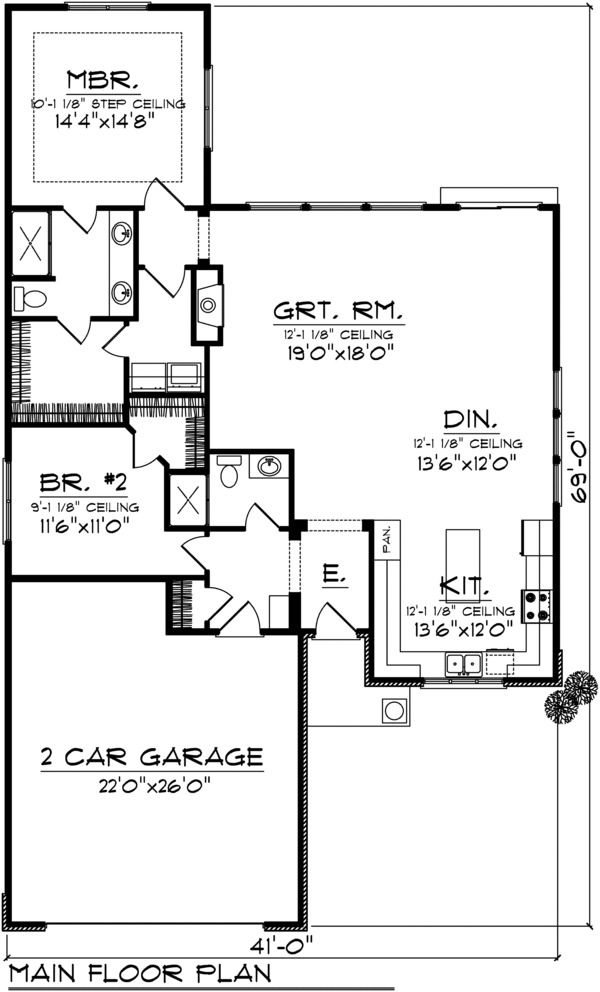 Ranch Style House Plan 2 Beds 2 Baths 1540 Sq Ft Plan 70 1025 Bungalow Style House Plans Monster House Plans Ranch Style House Plans