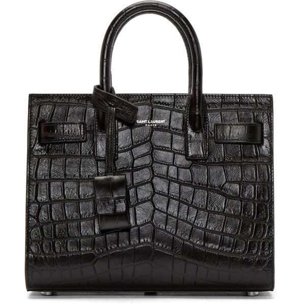 Saint Laurent Black Croc-Embossed Nano Sac de Jour Tote (€1.905) ❤ liked on Polyvore featuring bags, handbags, tote bags, studded tote bag, yves saint-laurent tote, crocodile handbag, structured tote and studded tote