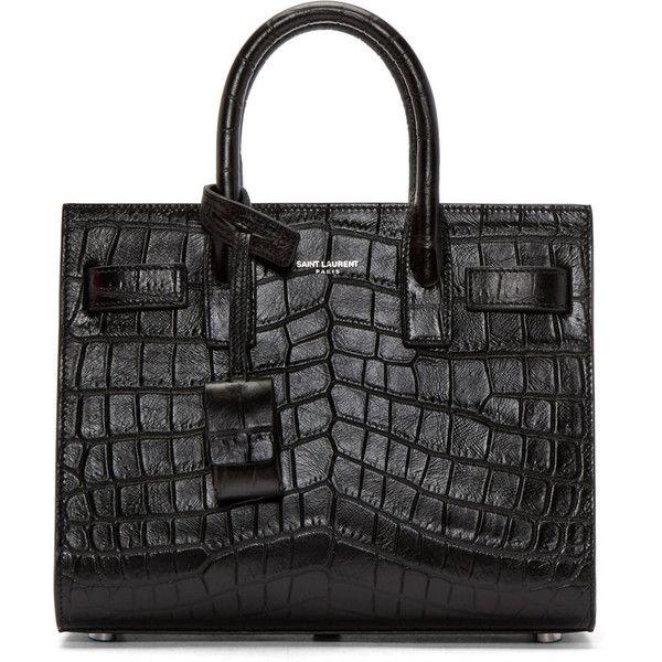 Saint Laurent Black Croc-Embossed Nano Sac de Jour Tote (6.470 RON) ❤ liked on Polyvore featuring bags, handbags, tote bags, croc handbags, crocodile handbags, crocodile purse, structured handbags and yves saint laurent handbags