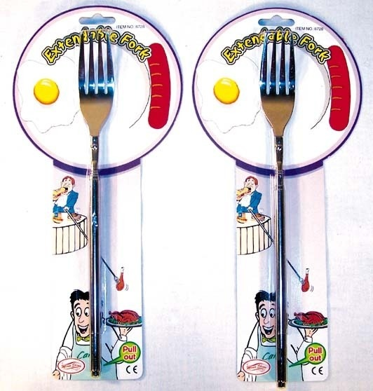 Great prank that will take everyone by surprise... Use the fork to try your neighbor's dinner at a restaurant or reach across the table to snag a bite of a friend's food.