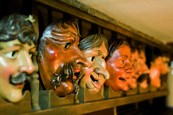 An example of the creepily charming brick-a-brak that adorns the walls of Gatshof Fraundorfer's beerhouse-tavern #Germany #hotel #chalet #Bavaria #decoration #creepy