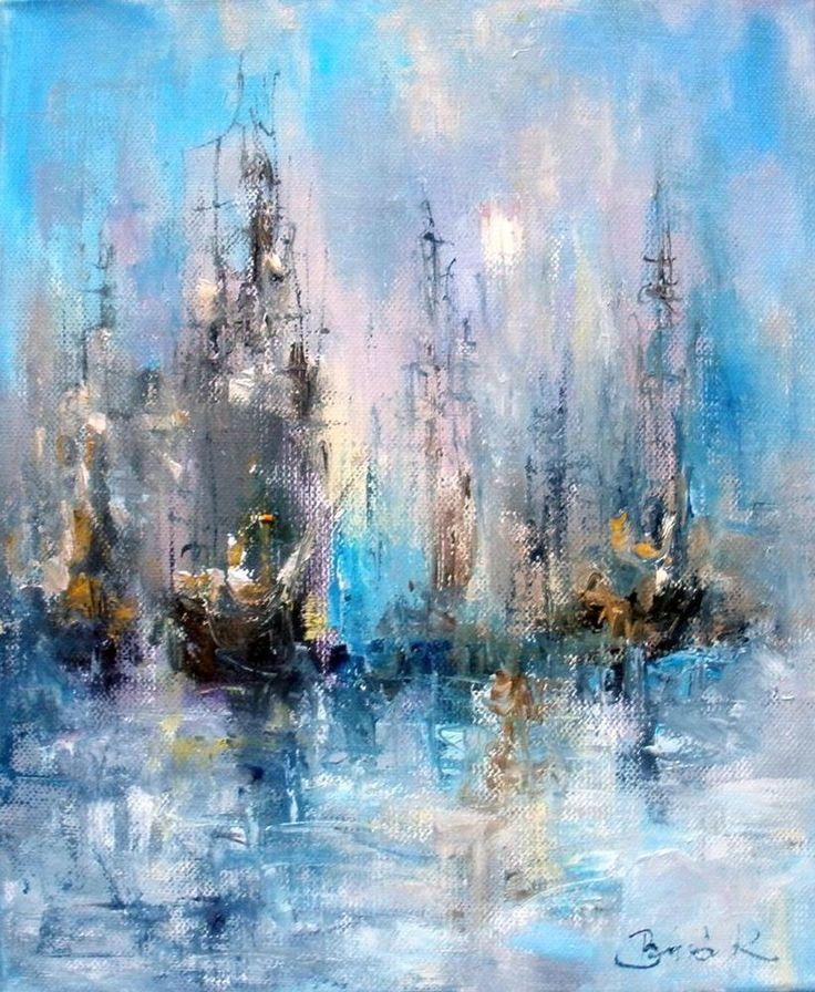 Fog, mist sailboat.Konrad original abstract expressionism oil painting 15.4*12in #Impressionism