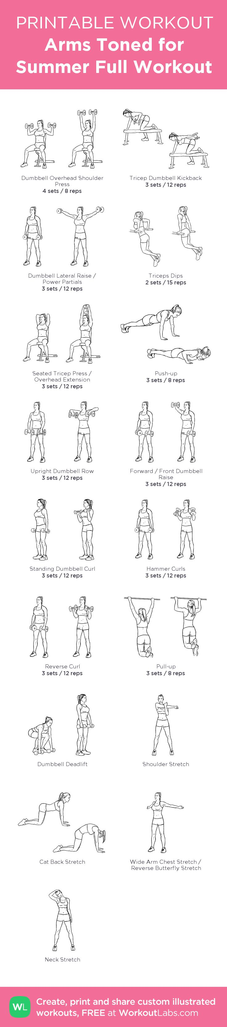 Arms Toned for Summer Full Workout:my visual workout created at WorkoutLabs.com • Click through to customize and download as a FREE PDF! #customworkout