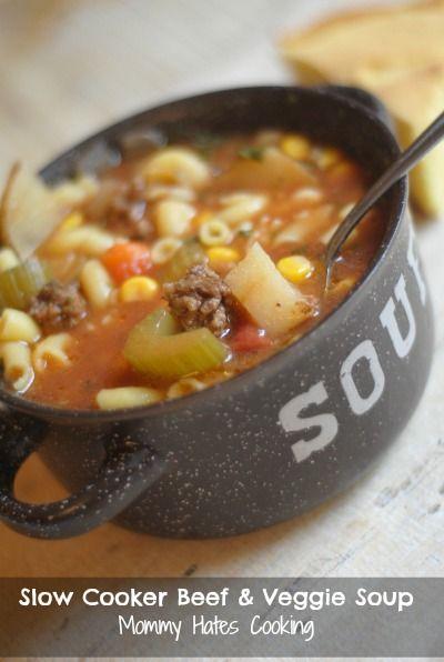 Slow Cooker Beef & Veggie Soup | Stove, Veggie soup recipe ...