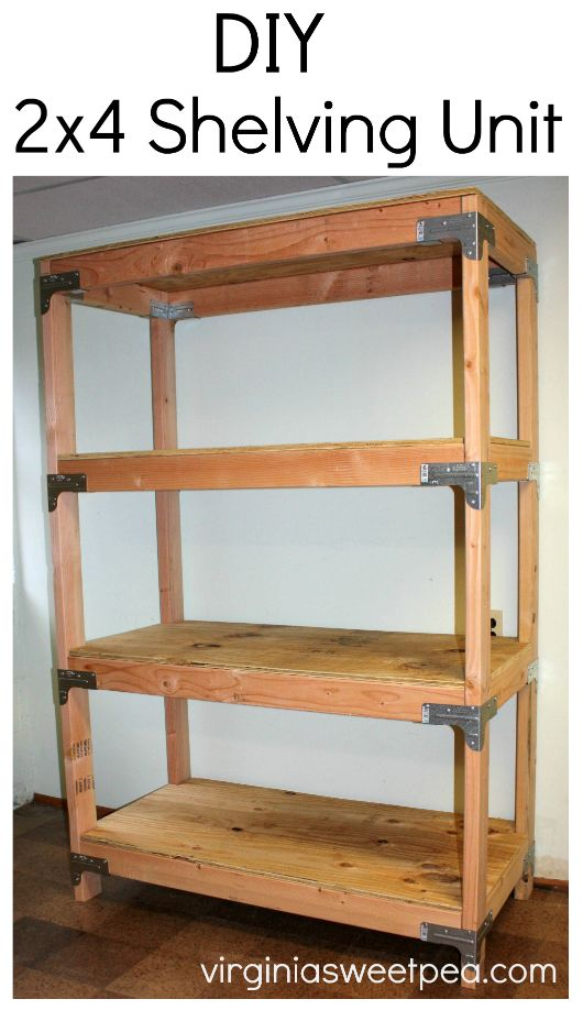 DIY 2x4 Shelving Unit - Learn how to make this handy storage piece for your home. virginiasweetpea.com