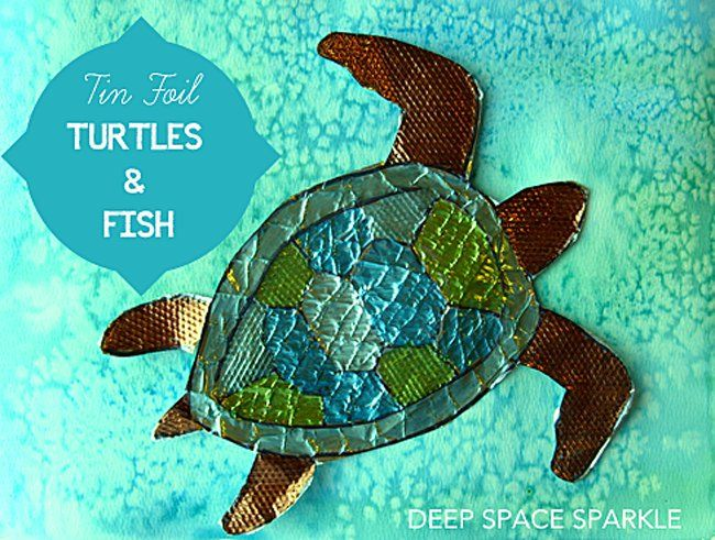 Tin Foil Turtles and Fish - love the texture!