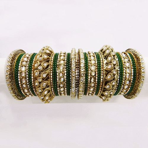 Traditional Green Wedding CZ Bangle Indian Bollywood Bridal Sari Jewelry Set