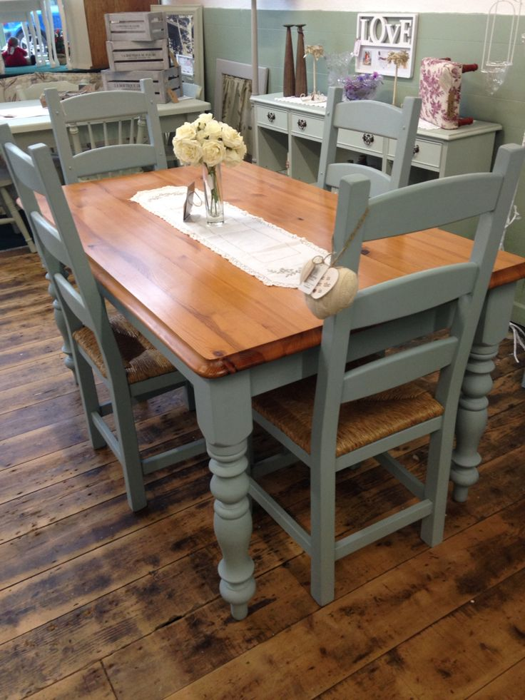 Gorgeous kitchen table and chair set transformed by Aspirations UK using Frenchic Furniture Paint®