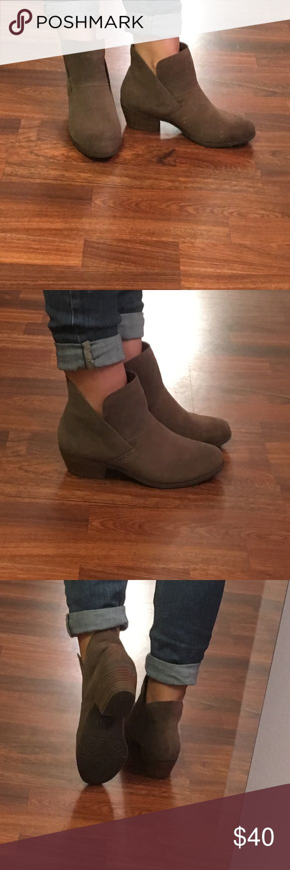 Suede flat bootie women's size 6 Mee Too brown suede flat bootie. Women's size 6. No signs of wear, like new! Shoes Ankle Boots & Booties