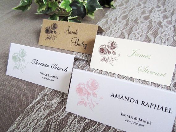 Personalised place name cards with vintage rustic rose motif - great for a vintage or rustic country or barn  wedding!