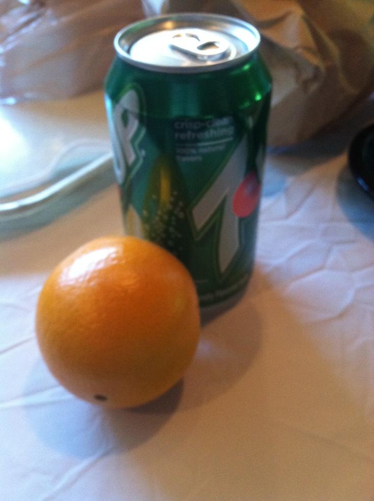Maya: I ate an orange and I drank a 7up.