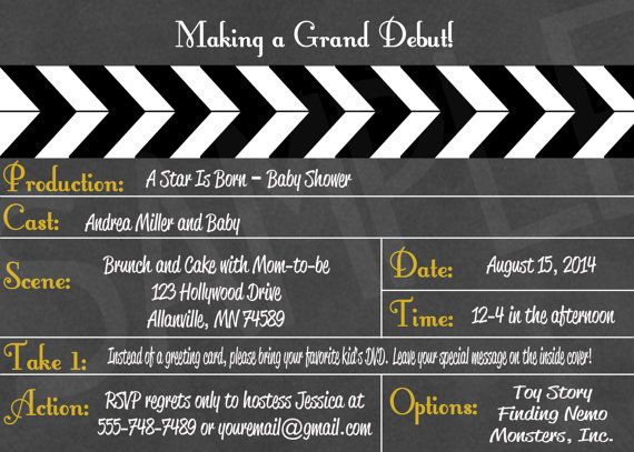 hollywood movie clapboard printable baby shower movie party
