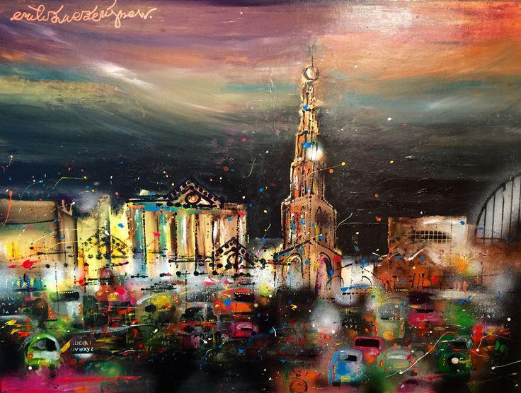 """""""Avond over de Stad"""" 100 x 120 cm. www.erikzwezerijnen.com"""
