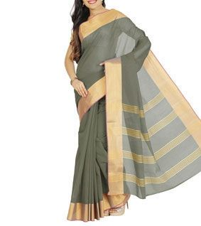 Grey Kora Silk Zari Woven Saree With Blouse Piece
