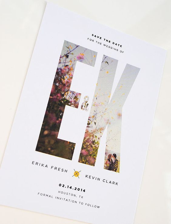 artistic design and obvious letters modern wedding invitations