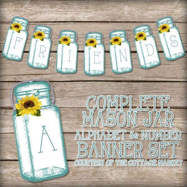Free Printable Complete Mason Jar Alphabet & Number Banner/Bunting Set - The Cottage Market