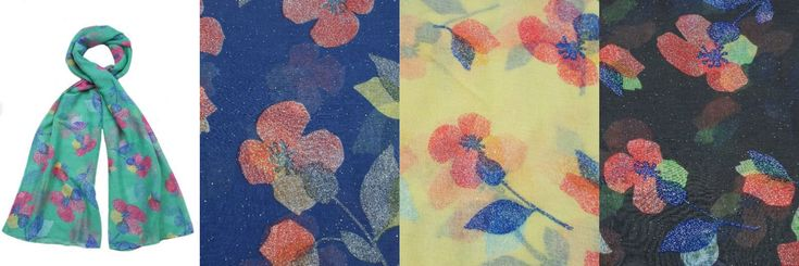 Ladies Light Weight Blue/Mint/Yellow/Grey Floral Glitter Scarf Collection 91362