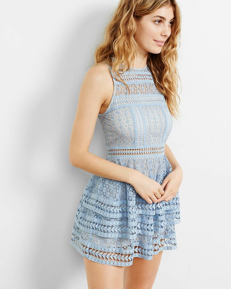 tiered lace fit and flare dress