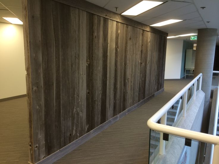 Reclaimed Grey Barn Board Feature Wall Installed By Barnboardstore At Kraft Canada Offices In
