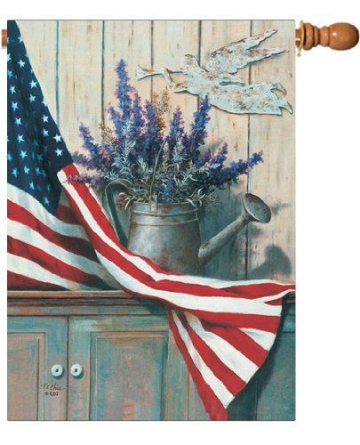"""American Flag / Heather Large Flag Flowers America by Custom Decor, Inc.. $11.99. Size: 28"""" x 40"""". Design: Sitting on a cabinet is a watering can that has flowers in it. Drapped from the left side to the right is the American flag.. Material: 100% durable polyester, fade resistant, permanent-dyed. Flag has opening at top that fits on standard flagpoles. ################################################################################################################################..."""