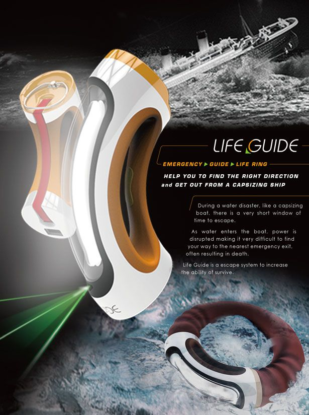Life Guide Will Guide You to The Emergency Exit and Function As A Flotation Device - Life Guide, is a quarter-circle shaped device that can be attached to 3 others to form a full circle. It can be stored on the vessel wall as an alternate light source. In the event of an emergency, red LED lights willflash to warn passengers and facilitate finding the device. Designer : Huang-yu Chen | via Tuvie