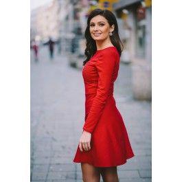 Red Casual Mini Dress! Rochie scurta rosie cu maneci lungi.