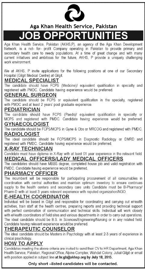 Job in Aga Khan Health Service, Pakistan Health services