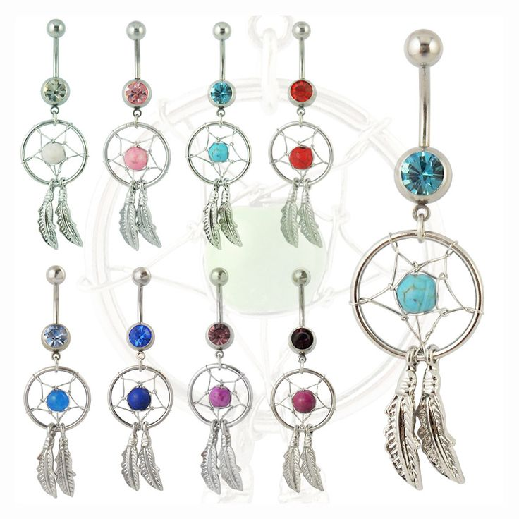 Hot Women Punk Rock Dream Catcher Navel Dangle Belly Barbell Button Body piercing Jewelry Body Art