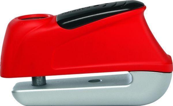 ABUS ηλεκτρονική κλειδαριά δισκοφρένου Trigger 350 Red κατασκευασμένη από ειδικά κατεργασμένο ατσάλι, με πείρο 10 mm και ηχητική ειδοποίηση (σειρήνα 110db). Ο χειρισμός γίνεται και με το ένα χέρι, ακόμα και αν φοράτε γάντια (push button για όπλιση και το κλειδί γυρνάει μόνο του στην αρχική θέση). Διαθέτει τσαντάκι μεταφοράς. Maximum Abus Protection Level 8.