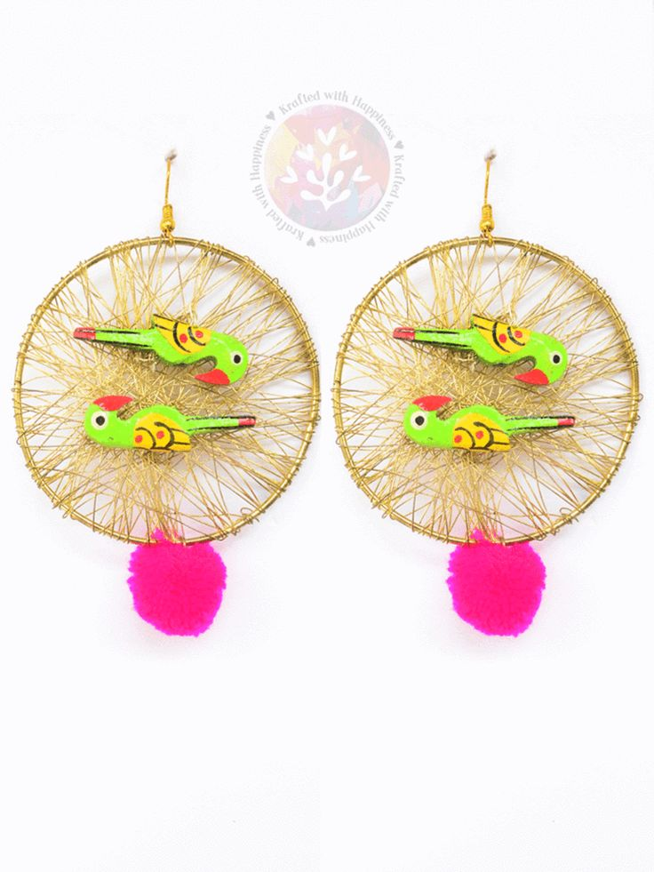 Parrot Paradise Chunk Earrings vintage boho chic bohemian tribal indian ethnic indo-western handmade handcrafted funky quirky gypsy unique pom-pom earrings tassel made in india earrings ideas antique beautiful cool awesome indian wedding festive festival diwali party desi stone designer earrings design bollywood colorful bright hand painted india fashion jhumka jhumki gold silver exotic chaand chand baalis baali afghani pakistani gota jewellery jewelery traditional statement sangeet mehendi…