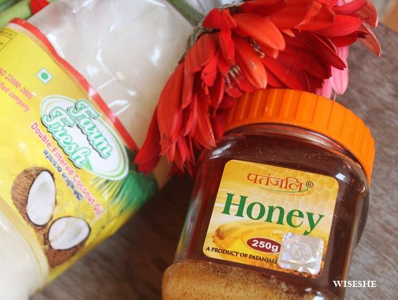 Coconut oil with some honey and leave it on your hair for 25 minutes!
