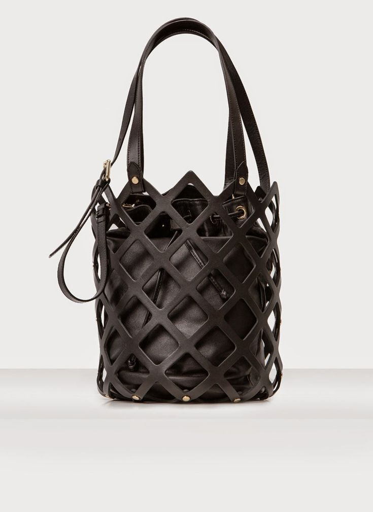 Leather cage bucket bag, chic black handbag // Uterque