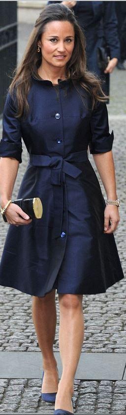 Pippa Middleton: Earrings – Kiki McDonough  Dress – Suzannah  Purse – Tory Burch  Shoes – Prada