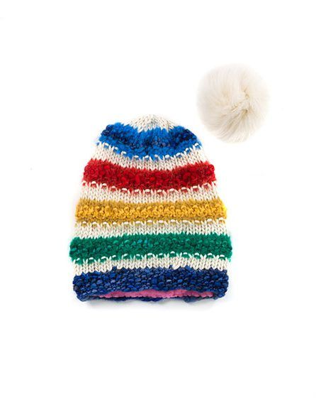 Hand Knit Beanie Cap: This slouchy hat has a non-itchy polar fleece lining. @Goble combined a luxurious blend of wools for this Beanie Cap as part of her Canadiana Collection (2017). The fox fur pompom snaps off the top for cleaning, or just to change up your look. #DesignerFashion #Canada150
