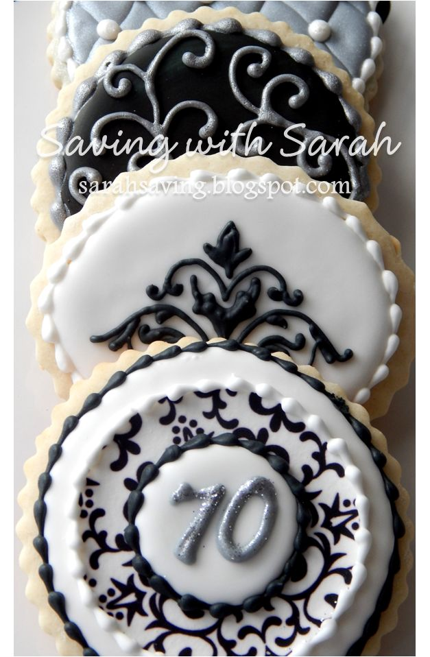 Black Silver and White Cookies, Decorated Cookies #birthdaycookies #sugarcookies Silver Cookies, Scroll Cookies