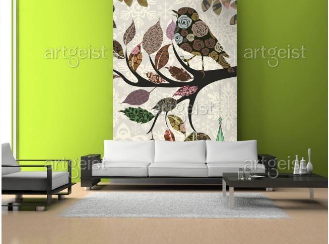 Papier peint Oiseau sur branche (patchwork) #papiers #peints #papier #peint #decor #design