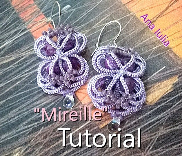 Mireille earrings - Ankars Tatting Pattern/ Tutorial by AnaIuliaTattingLace on Etsy