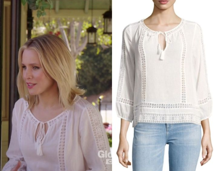 """2x09 by Kirsty0 Comments Eleanor Shellstrop (Kristen Bell) wears this white crochet cut out peasant style blouse in this episode of The Good Place, """"Leap To Faith"""".  It is the Joie Three-Quarter Sleeve Cotton Blouse"""