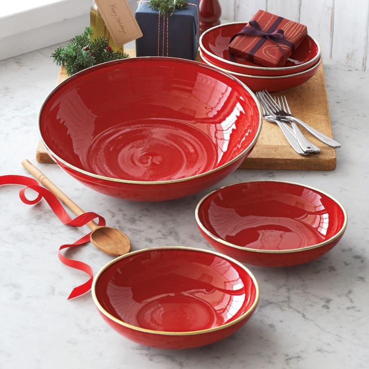 Red italian pasta bowls set of 5 sur la table sur la for Sur la table mixing bowls