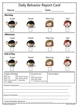 This daily behavior report card correlates with a clip chart in my store (see below). It is an easy way to hold students accountable and keep parents informed on their child's daily behavior during the school day. There is also a section to note what special events they attended that day, how they ate during lunch, and a place for other special information such as things they may have learned that day.