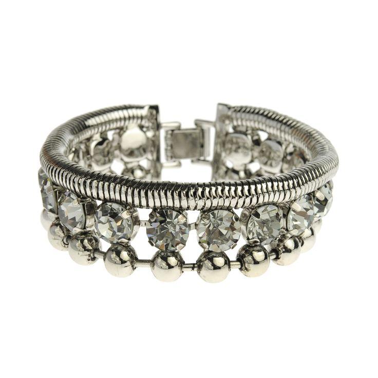 CRYSTAL BALL Silver bracelet