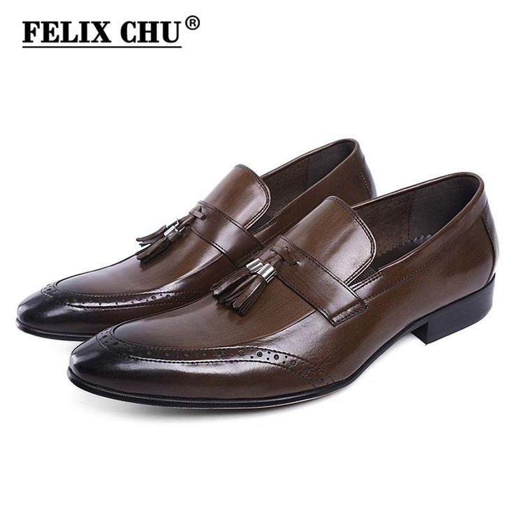 FELIX CHU Fashion Genuine Leather Slip On Men Formal Shoes With Tassel Black Brown Wedding Party Banquet Dress Footwear