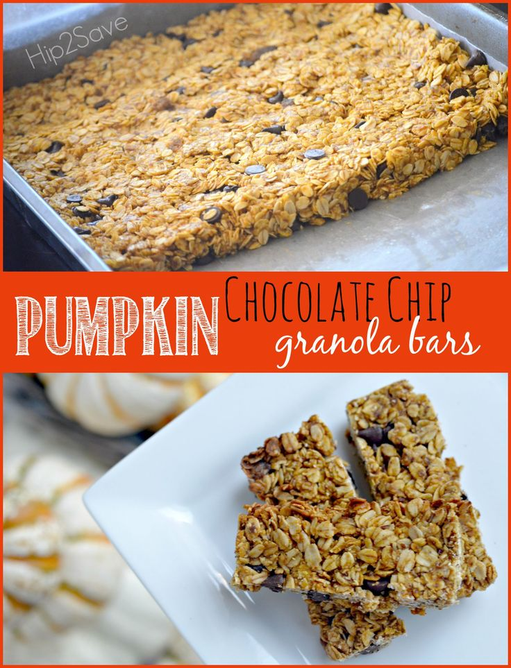 Pumpkin Chocolate Chip Granola Bars Recipe by Hip2Save