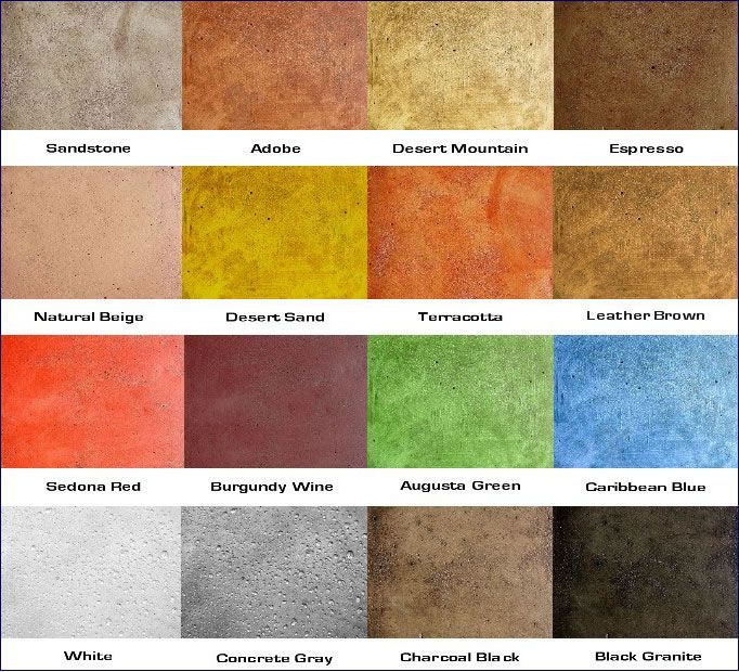Soy based concrete stain color chart. : Outdoor Living ...