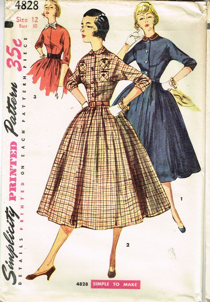 1950s Vintage Simplicity Sewing Pattern 4828 FF Misses Shirtwaist Dress Size 12 | eBay