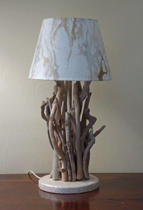 luce da tavolo nature con legni di mare bois flottè