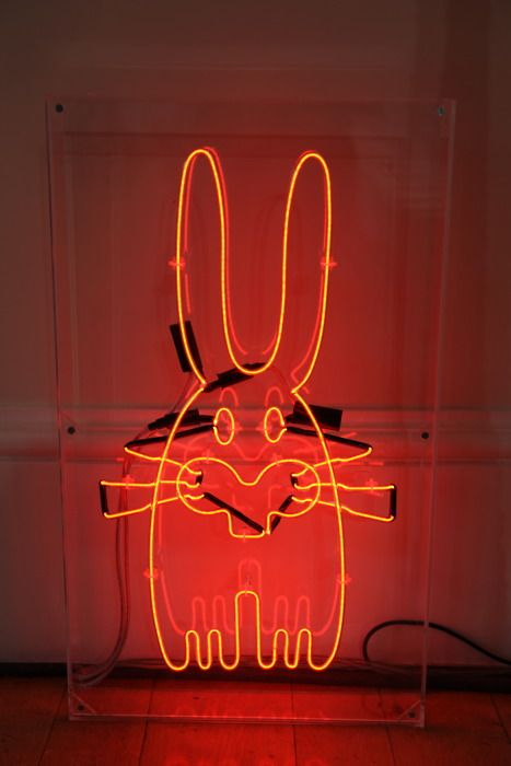 Neon bunny by London designer Peter Jensen - Photography by Elisabeth Blanchet